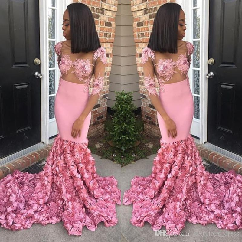 Sexy Pink Prom Dresses 2019 See Through Mermaid Lace Appliques Plus Size Party Dress Evening Gown With 3D Rose Flowers Graduation Dresses