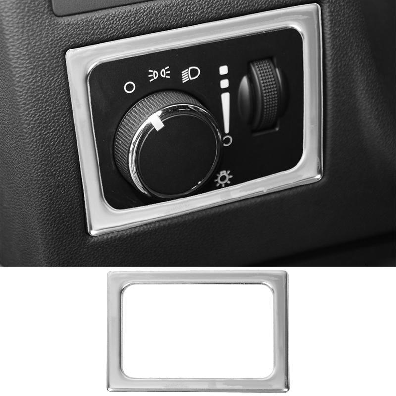 Dodge Challenger 2009-2014 Araç İç Aksesuar Gümüş ABS İç Far Anahtarı topuzu Çerçeve Dekorasyon Kapak