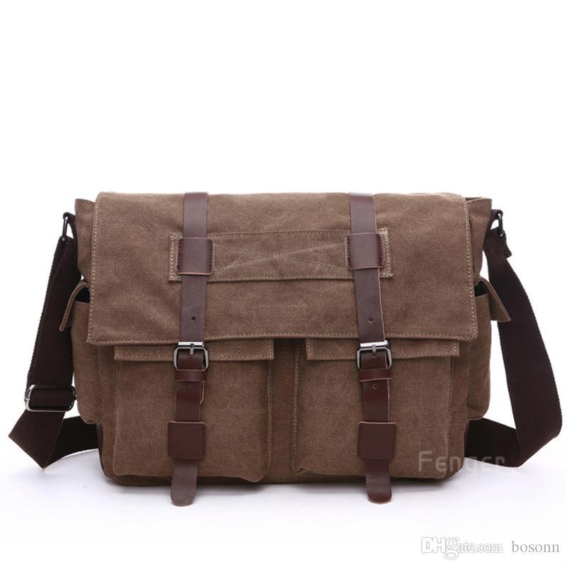 Cool Military Shoulder Bag Vintage Canvas Satchel Bag Fashion Men Black//Coffee