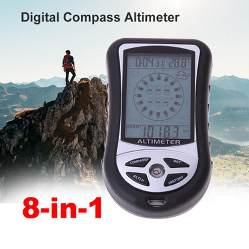 Multifunções 8 em 1 Eletrônico Handheld Bússola Altímetro Barômetro Termômetro Previsão do Tempo Relógio Calendário Camping ZZA990