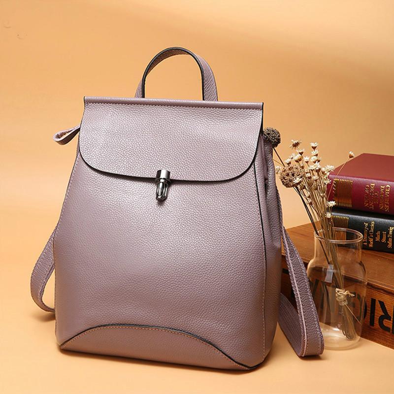 Mochilas de cuero genuino para mujer, mochila antirrobo, mochila de viaje para mujer, mochila escolar de estilo Preppy para niñas