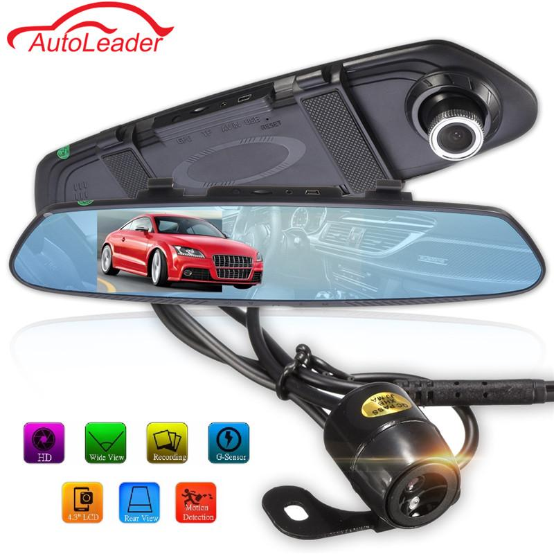 Freeshipping Newest 4.3 Inch 170 Degree 1080P Rearview Mirror Dual Lens Car DVR Dash Camera Vehicle Video Recorder