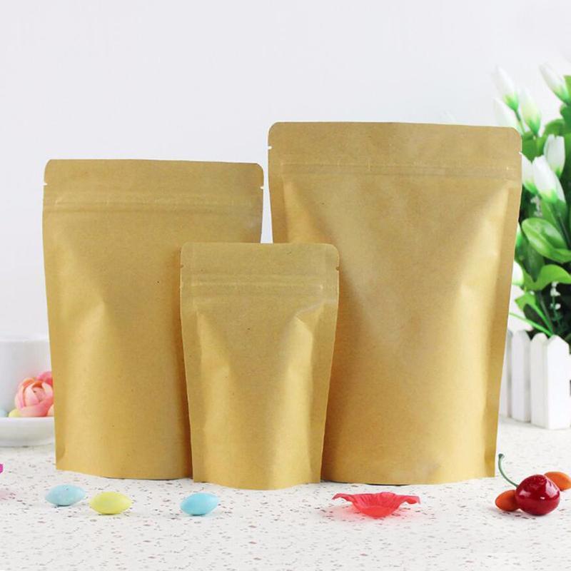 Vente en gros Brown Film Stand-Up Heat Scellable refermable Zip poche, papier kraft de stockage des aliments Sac d'emballage avec Tear Notch 1inch est 2.54cm