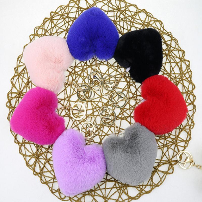9 color Heart Ball Pom Pom keychain Fluffy Faux Rabbit Fur Pompom Key Chains Women Bag pendant Jewelry Key Chains Party gift UJJ113