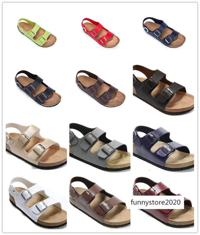 Slide 24 Cores novíssimo Brik Arizona praia do verão Homens Mulheres flats sandálias Cork chinelos casuais com sapatos de couro genuíno Buckle Open-toed