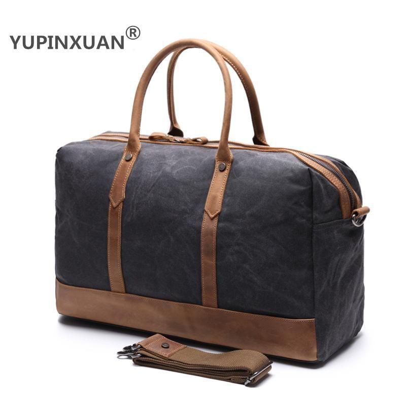 Oil Wax Pure Cotton Canvas Travel Handbag