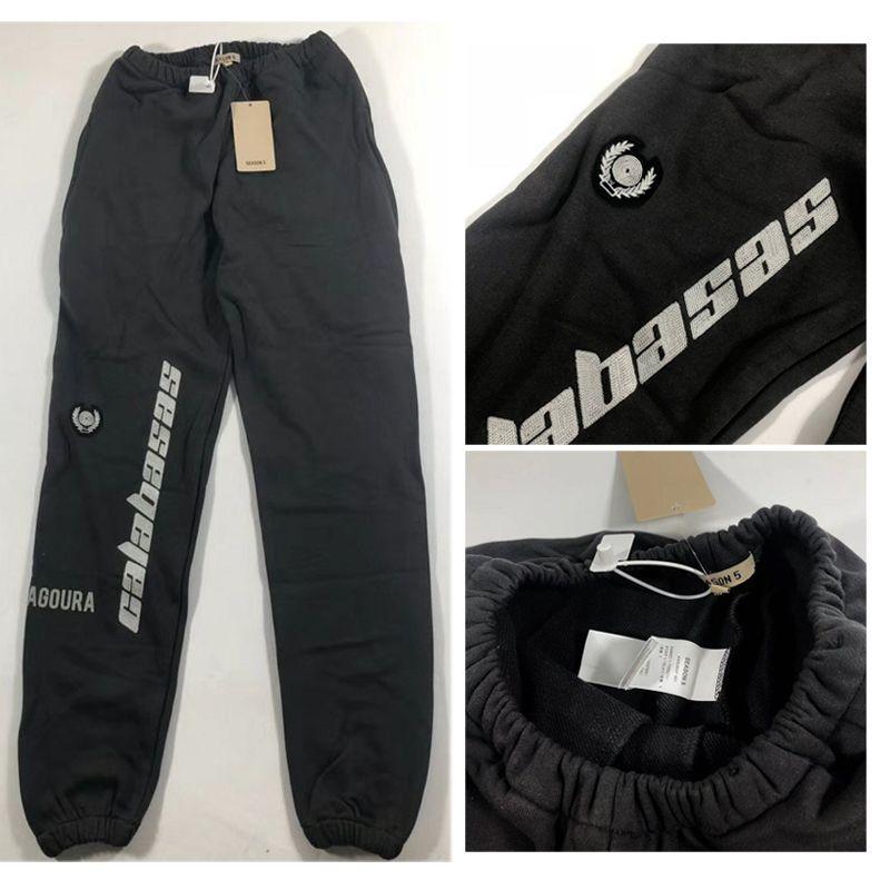 2019 nueva temporada 5 pantalón Hombres Mujeres Streetwear Calabasas bordado pantalones West Joggers con cordón temporada 5 Sweatpants