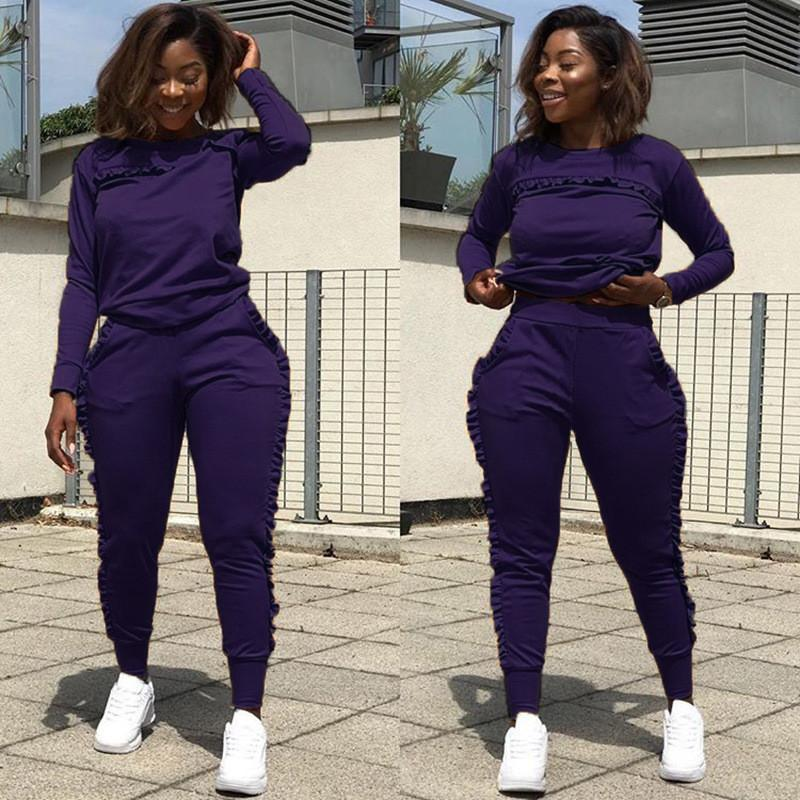 New Outdoor Sports Suit Female Fitness Clothes Jogging Wear Two-piece Solid Color Long Sleeve Women Street Style Clothes