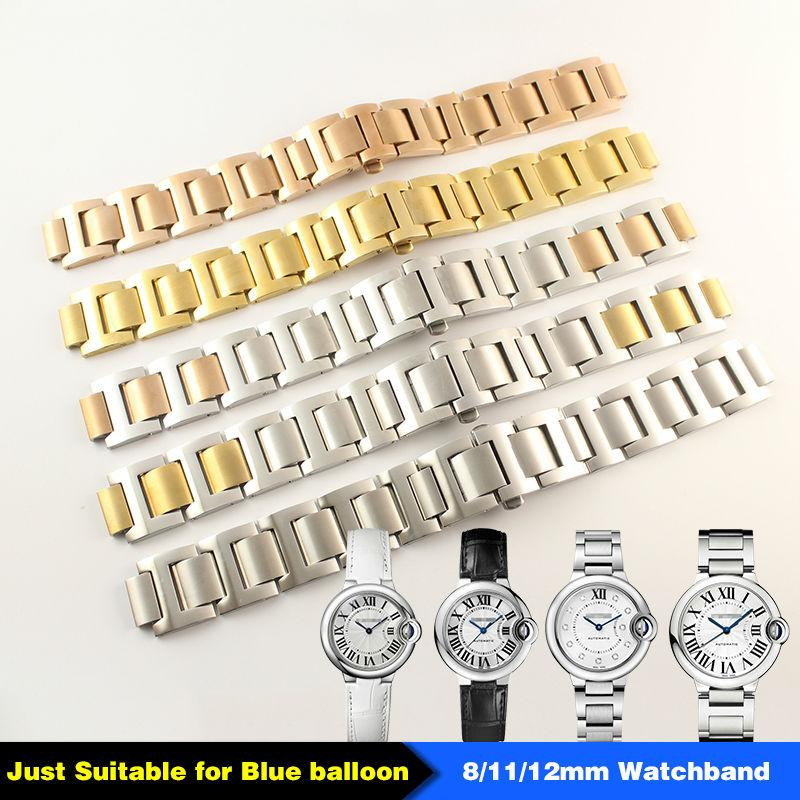 Stainless Steel Man Woman Watch Band 15mm x 8mm 18mm x 11mm 20mm 12mm for Blue Balloon Strap Bracelet