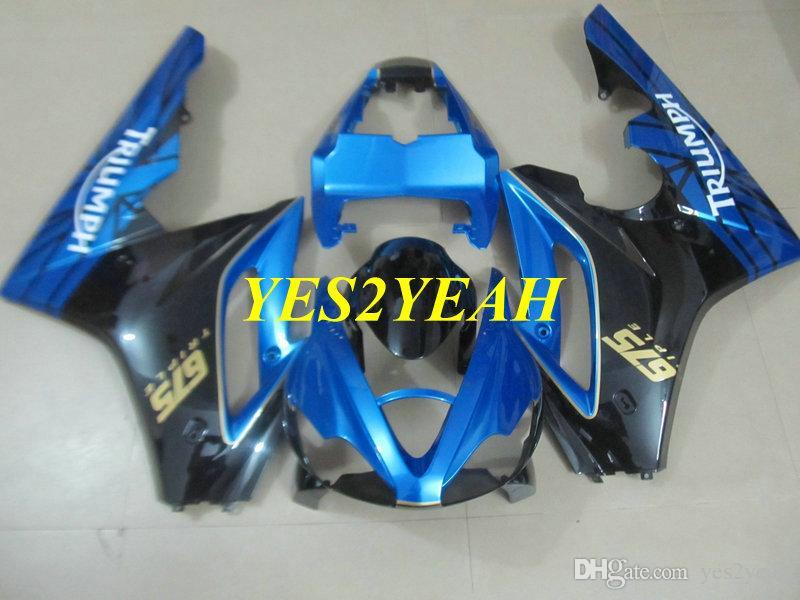 Kit de carenado del moldeo por inyección para TRIUMPH DAYTONA 675 2006 2008 Daytona675 05 06 07 09 10 set de carenados de balck azul + 7gift TM60
