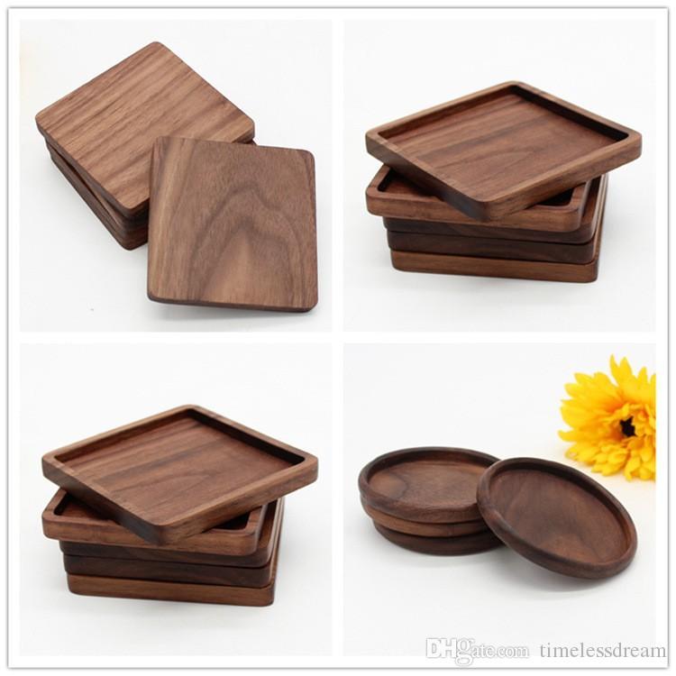 Sous-verres en bois noir Coupe Noyer Mat Bowl Pad café tasse de thé Tapis Dinner Plates Cuisine Home Bar Outils