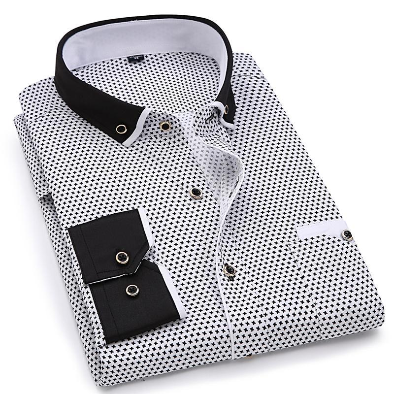 E-BAIHUI Homens Moda Casual Camisa de Manga Longa Impresso Slim Fit Masculino Social Business Camisa de Vestido de Marca Homens Roupas Macias e Confortáveis L677