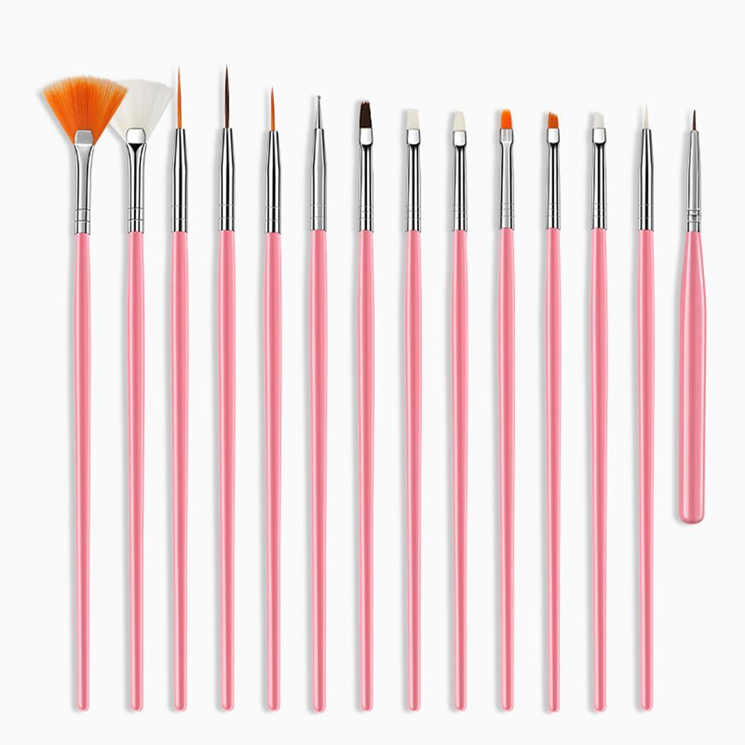 15 세트의 네일 페인트 꽃 펜 캐주얼 브러쉬 여성 미술 디자인 네일 페인트 네일 도구 전문적인 장식을 그리기