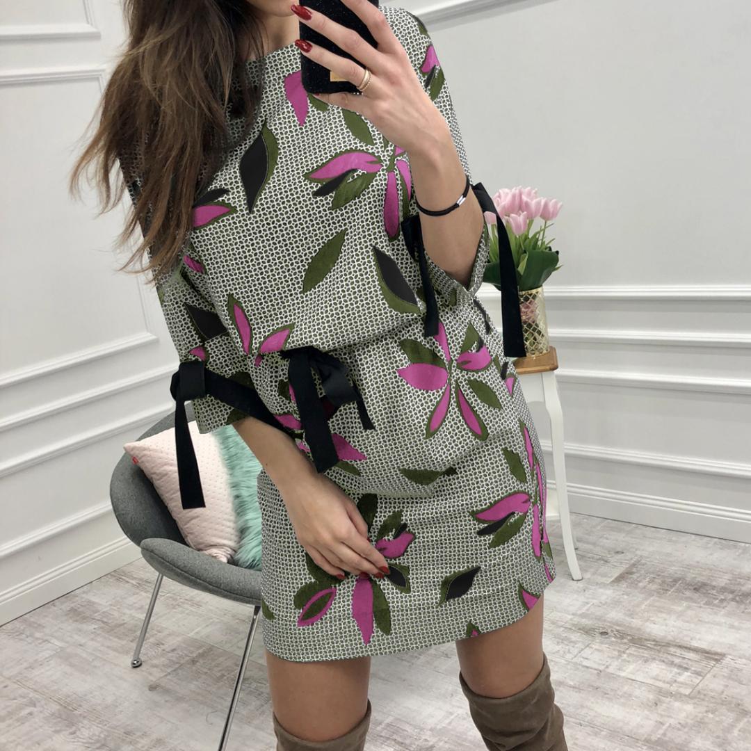 Mujeres Verano Casual O-cuello Floral Vestidos Impresos Chica Sweet Bow Kawaii Mini Sundress Femme Vestido de Playa Boho Plus Tamaño N8873