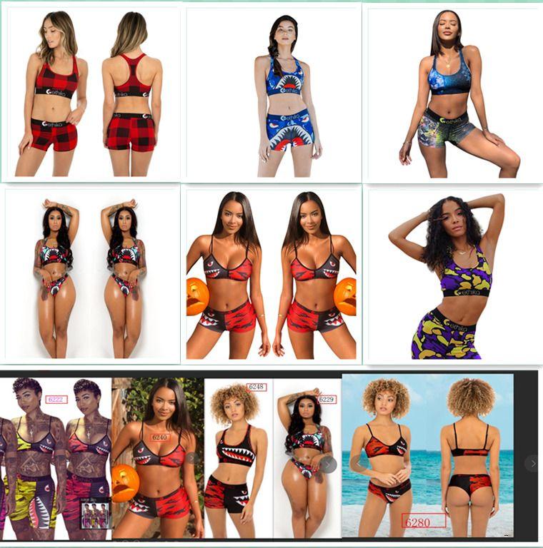 donne s abbigliamento 2 piece le donne set set Ethika Ethika Suits pugili metà di vita dei bikini delle signore delle donne di balneazione nuovo G68N Bra + Shorts