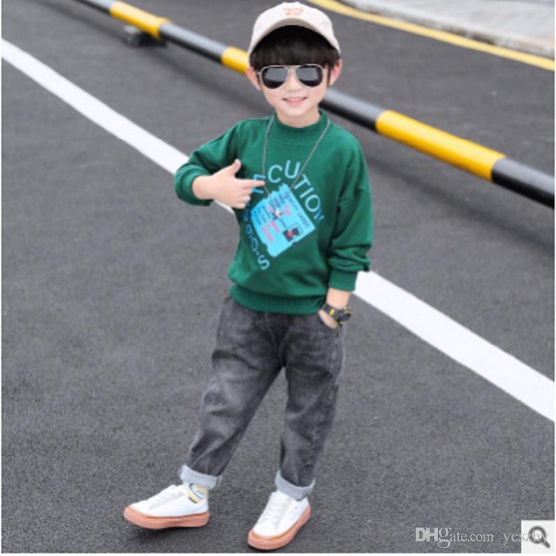 Garçons Hoody Jeans Vêtements Set Printemps / Automne 2019 Nouveaux enfants Vêtements enfants ensembles actifs 2 Patchwork Couleurs Imprimer ly157 Size4-14