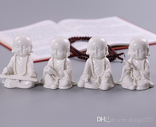 Dehua white porcelain Buddha small monk ornaments small shami Zen home living room study furnishings piano chess and painting full set