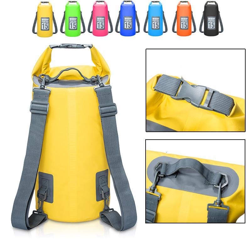 5L / 10L / 15L / 20L Bolsas de almacenamiento a prueba de agua Bolsa de saco seco para canoa Kayak Rafting Deporte al aire libre Bolsas de natación Kit de viaje Mochila