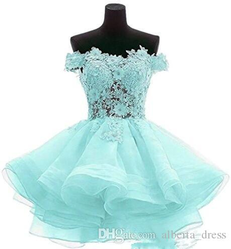 Cute Mint Green Cocktail Dresses 2019 Short Pink Evening Gowns Off Shoulder Lace A Line Special Occasion Women Mini Prom Dresses Online