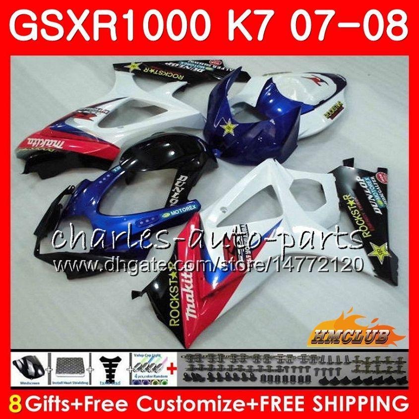Suzuki GSXR-1000 GSXR1000ホワイトブルー株2007 2008 07 08 Bodys 12hc.26 GSX R1000 GSX-R1000 K7 GSXR 1000 07 08 ABSフェアリングキット