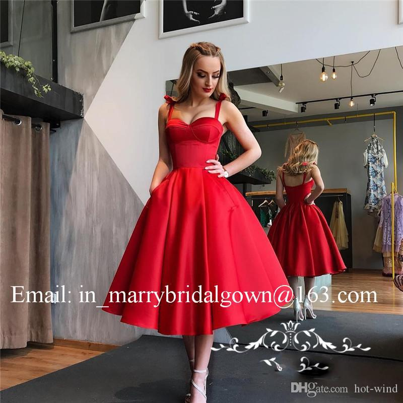 Vintage 1950s Retro Red Black Prom Dress Satin A Line Sexy Spaghetti Strap Tea Length Cheap Short Evening Dress Formal Party Gowns Pockets
