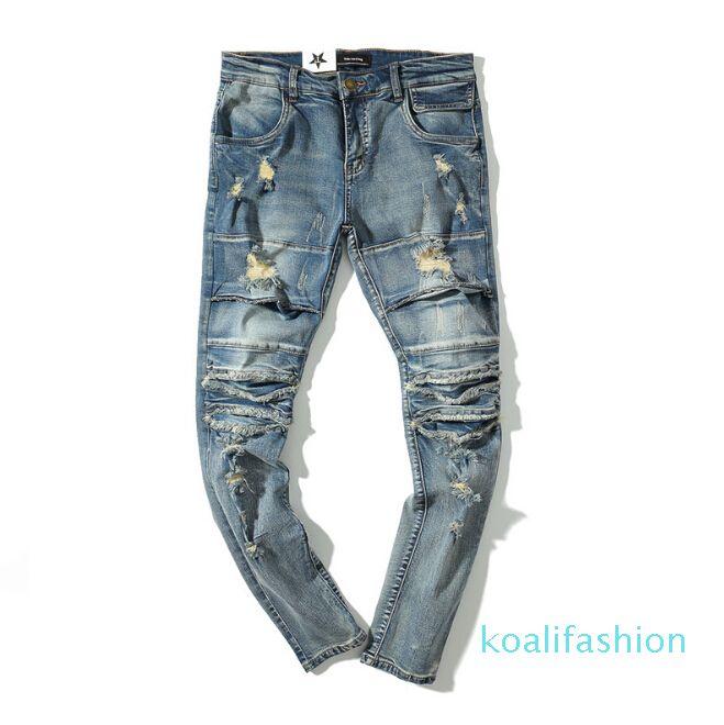 Compre High Street Hombres Rasgado Cortes Rodilla Slim Fit Jeans West Pantalones Apeno Los Pantalones Largos Azules Claras De La Vendimia A 30 43 Del Koalifashion Dhgate Com