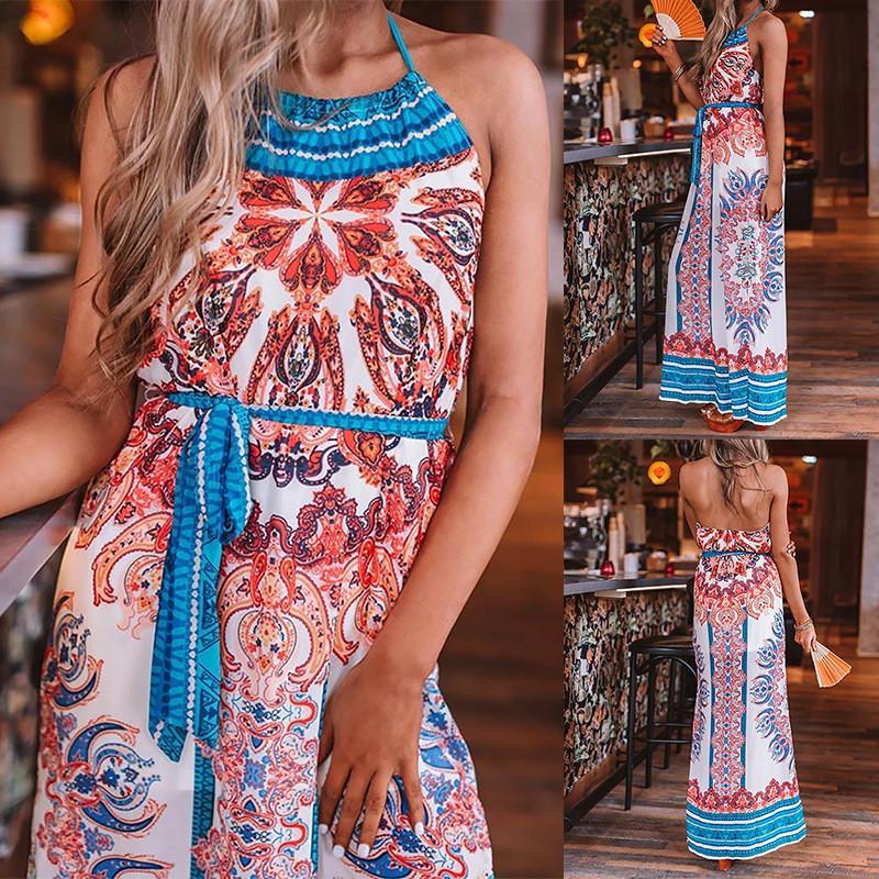 Kadın Yaz Bohemian Elbiseler Moda Tasarımcısı Sashes Kadın Holiday Beach Elbise ile Stil Halter Backless Maxi Elbiseler