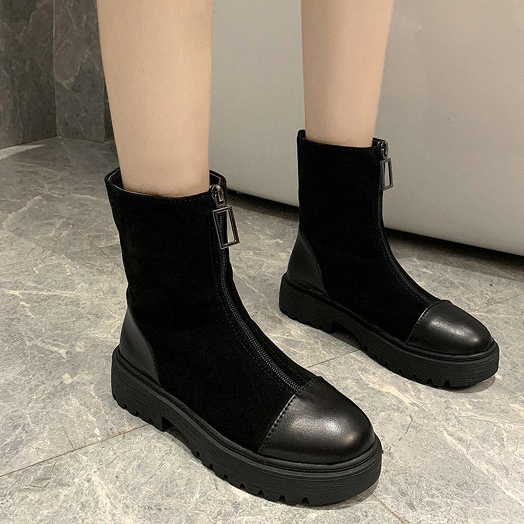 Thick-Absatz-Frauen Ankle Boots-quadratische Zehe-Reißverschluss Schuhe aus Wildleder Weibliche Stiefel Schuh-Frauen 2019 New Black # g3