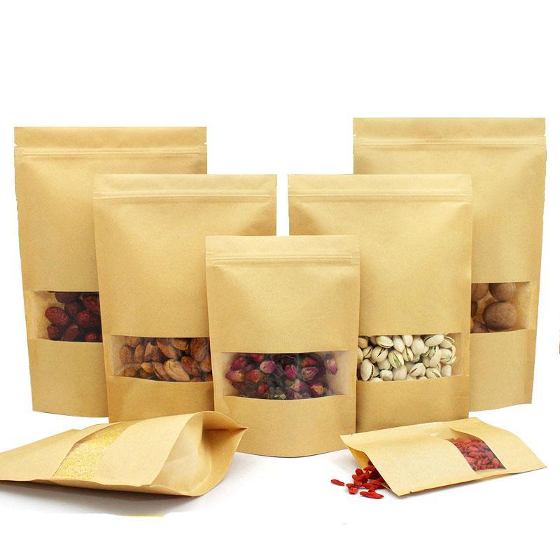 Food Moisture Barrier Bags with clear Window Brown Kraft Paper Doypack Pouch Zip Packaging Sealing Pouch