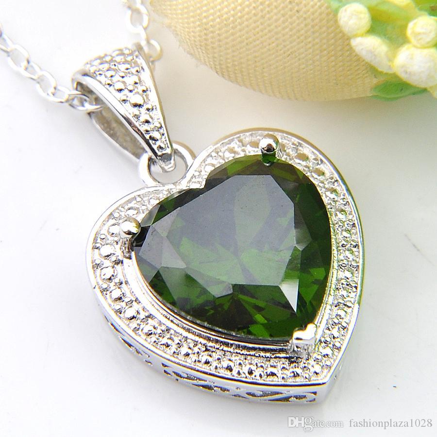 Luckyshine 10 Pieces 1lot Bijoux cadeau Coeur Olive Peridot Gemstone 925 bijoux en argent Colliers pendentif pour les femmes