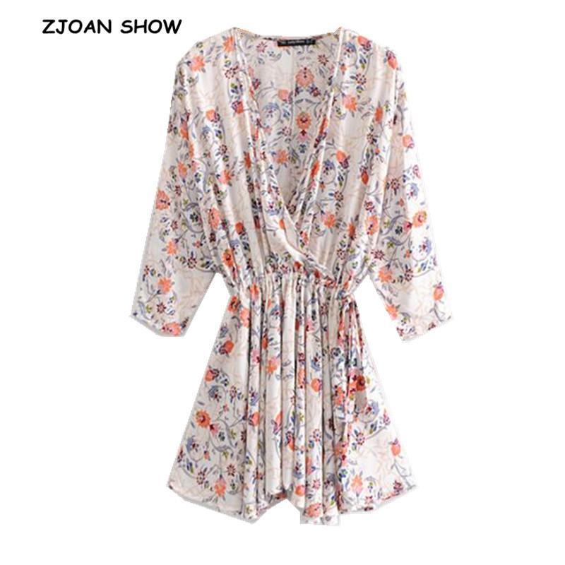 2019 New Vintage Cross V -section Floral Print Women Dress Loose Cotton Bow Bound Waist Bat Sleeves Irregular Dresses Y19071001