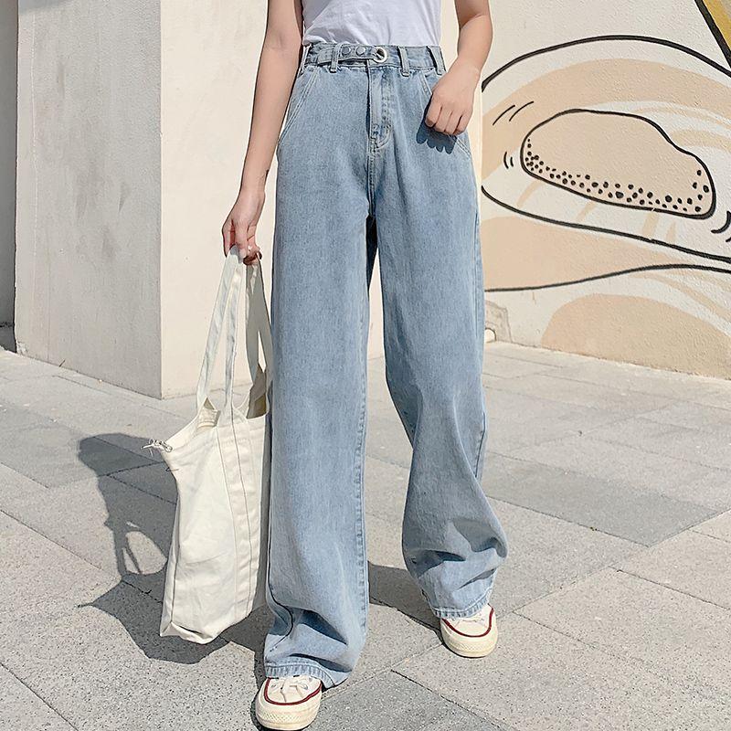 Compre Jeans Para Mujer Jeans Mujer De Cintura Alta Pierna Ancha Pantalones Sueltos Pantalones Diseno Todo Fosforo Coreano Del Estilo Harajuku Recta Casua A 19 92 Del Alfredo Dhgate Com