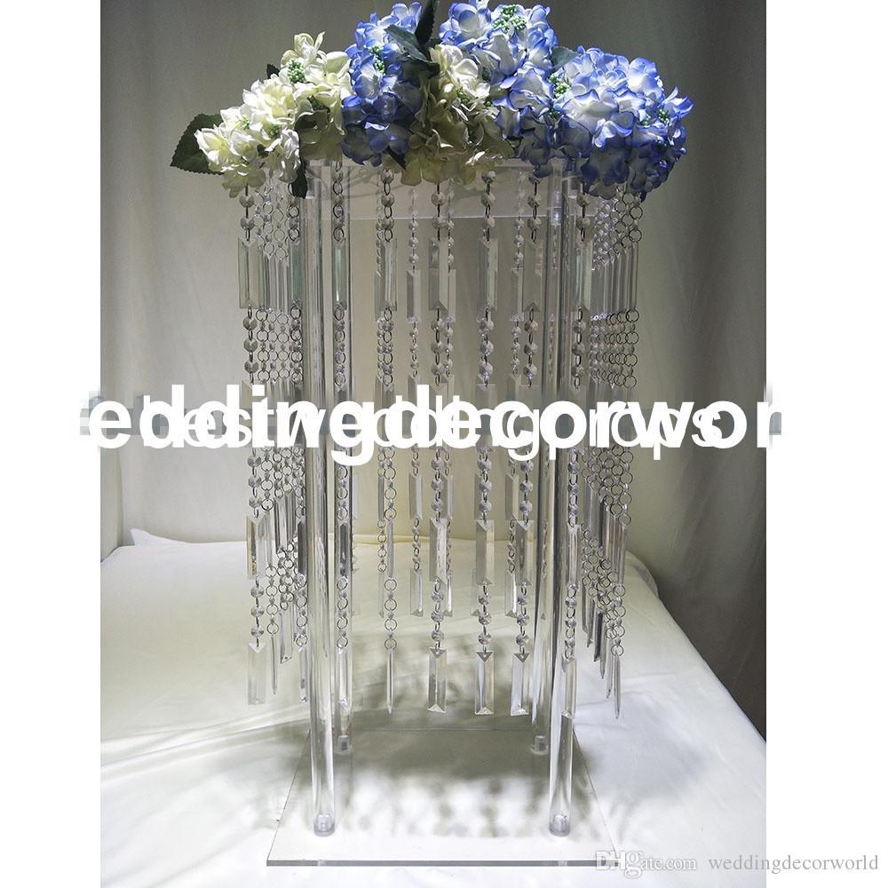 Nouveau Élégant Table De Mariage Pièce De Table Décoration Cristal Fleur Stand Or Argent Vase Bougeoir Stand decor0697