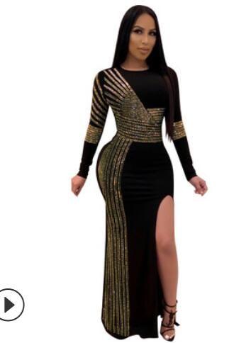 2019 femmes sexy Maxi Robes de bal longueur cheville longue robe de soirée à manches longues à rayures strass Fermeture à glissière latérale Slit taille haute robe noire S-3XL