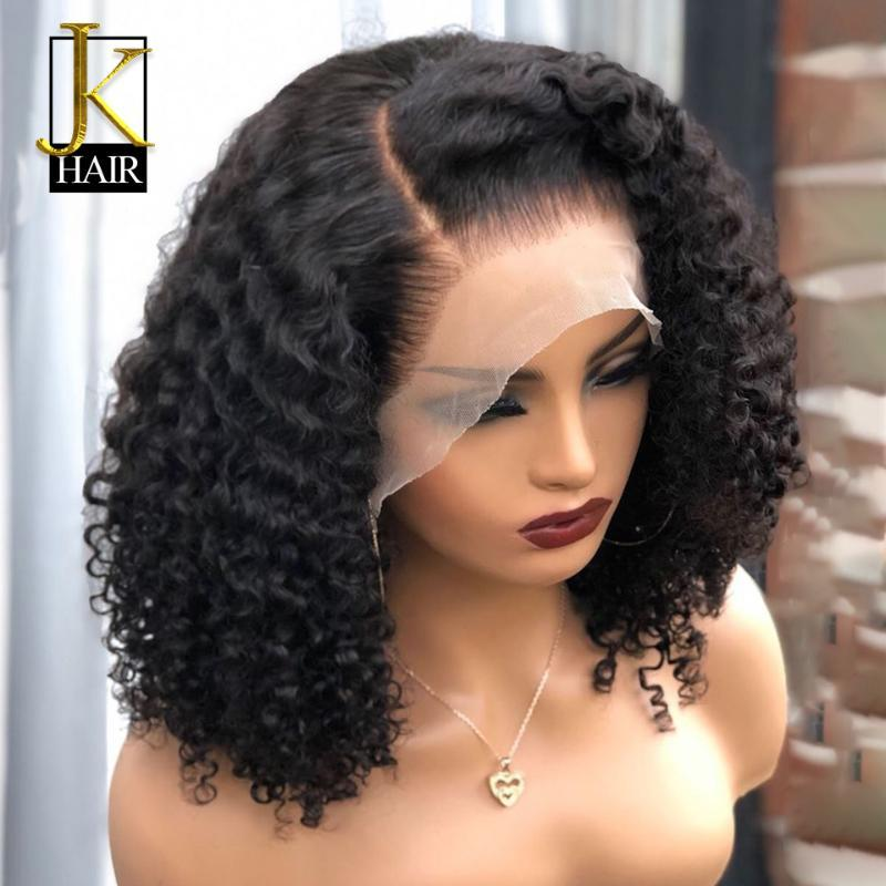 180% Jerry Curly Bob Wig Remy Brazilian Lace Front Human Hair Wigs For Women Black Pre Plucked Bleached Knots JK Elegant Queen