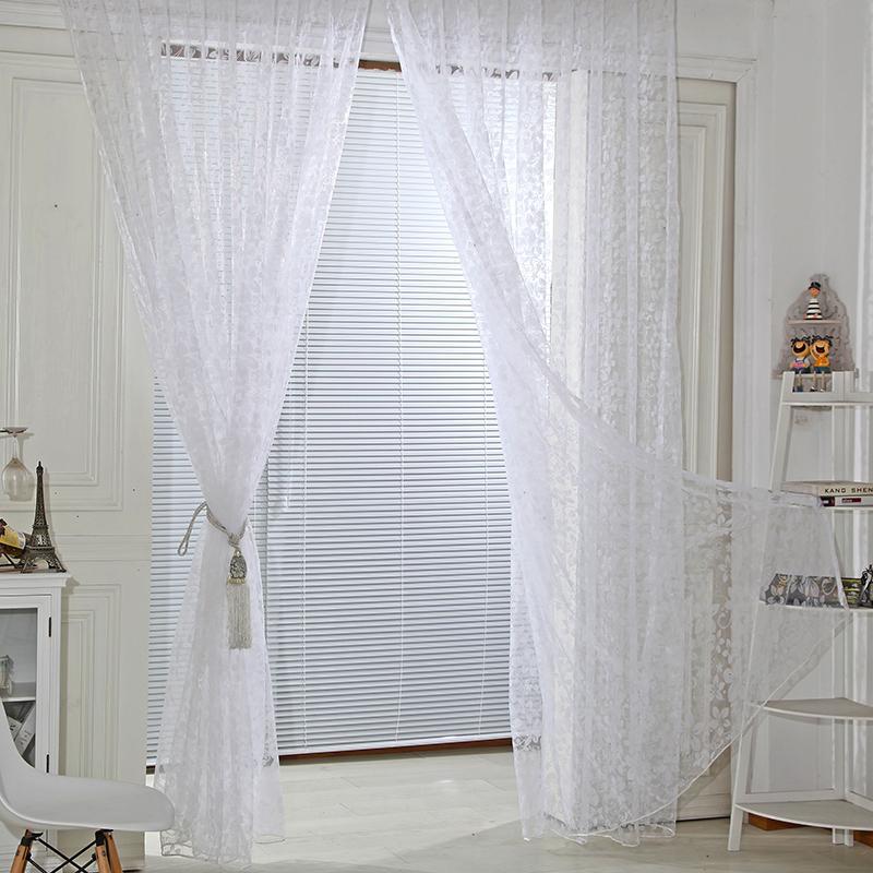 현대 풀어 다섯 잎 커튼 얇은 명주 그물 문 창 커튼 드레이프 패널 쉬어 스카프 장식 천에 대한 거실 침실 사무실