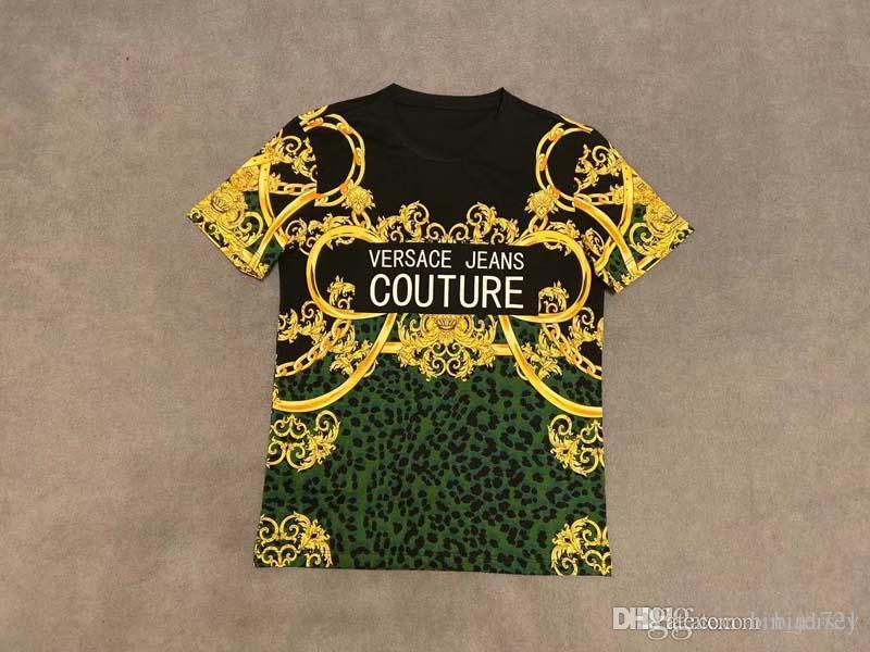 2020 Primavera 18ss e algodão novo alto grau de verão impressão de manga curta em torno do pescoço T-shirt painel Tamanho: S-l-xl-xxxl- Cor: preto branco M611