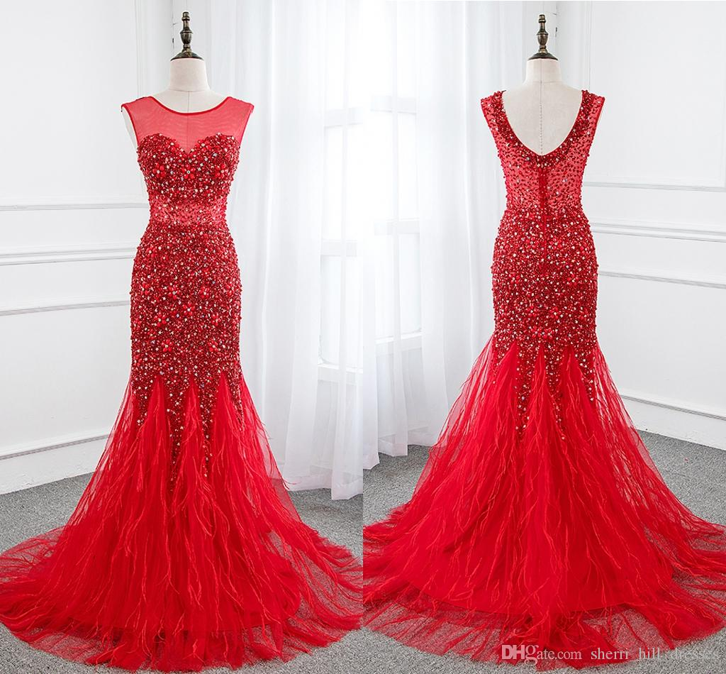 großhandel elegante rote kleider rundkragen open back mermaid accented  bling perlen verziert red tüll lange formale abend kleider für frauen