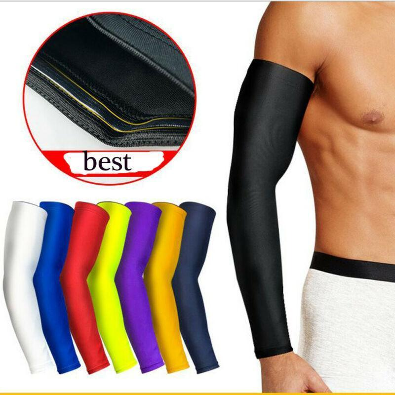 Men Compression Arm Sleeves, Sun UV Protection Arm Cover with Anti-Slip Design for Outdoor Sports Moisture Wicking