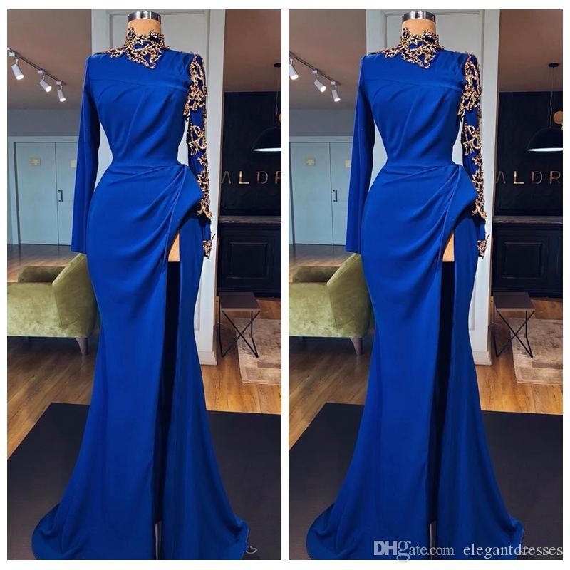 Col haut manches longues robes de bal de sirène avec des appliques de dentelle d'or Split avant longue robe de soirée de célébrité porter des robes de soirée