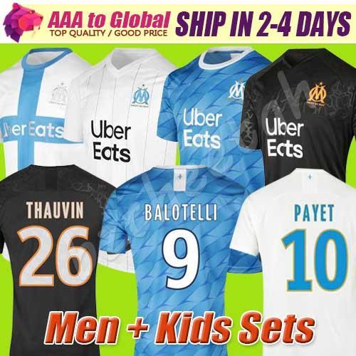 Таиланд 19 футбол Джерси 20 Олимпика OM Майо 2019 2020 Паого THAUVIN Бенедетто футбол рубашка мужчины малыши комплекты комплекты Майо