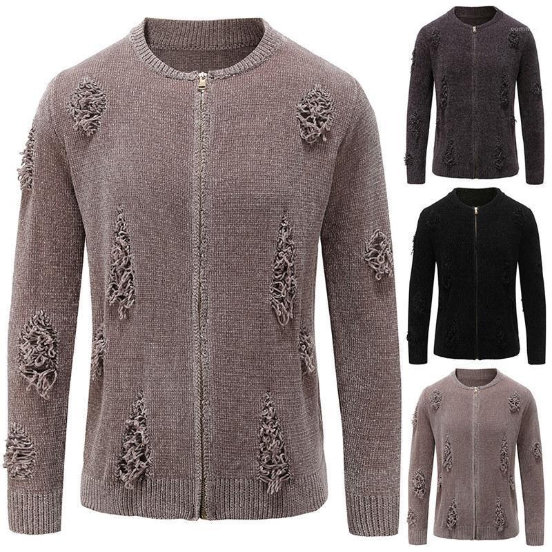 Повседневный Homme Одежда Mens Плюс Размер отверстия свитер моды Стенд воротник молния сплошной цвет свитера кардигана