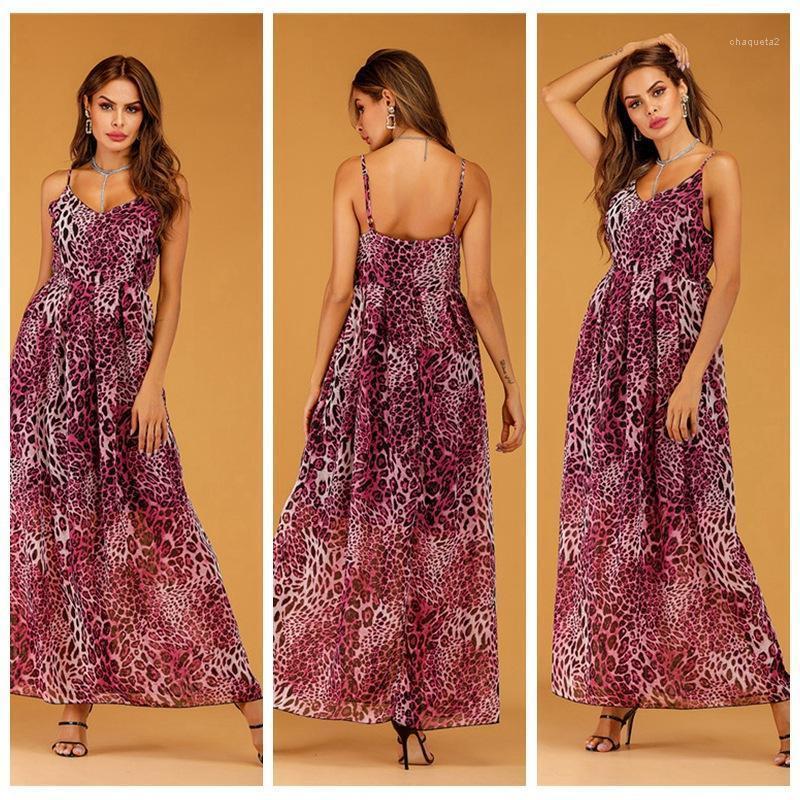 Vestidos de verano de las mujeres con cuello en V vestidos sin mangas de longitud de Asymmwtrical Ropa de diseño atractivo del leopardo de la gasa de la honda de Bohemia