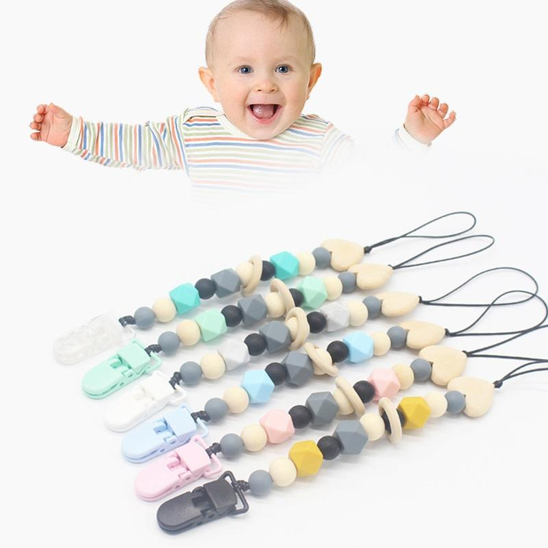 Memeler For Baby Safe ABS Boncuk Silikon Emzik Zinciri Holder ile Silikon Teething emziği Klipler Oyuncak Chew