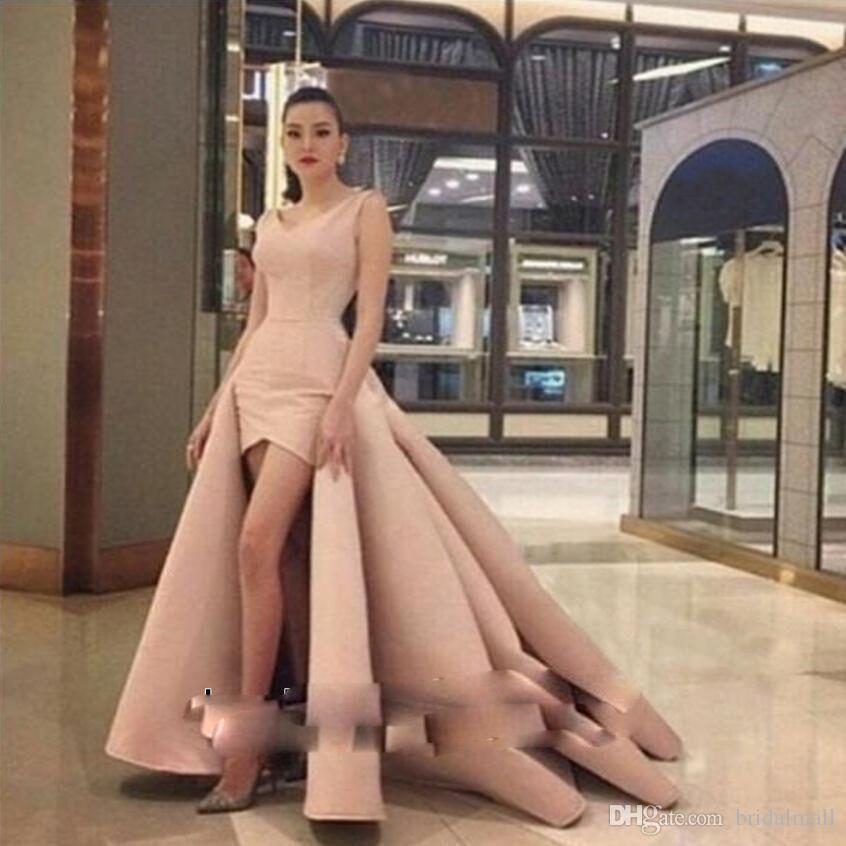 V Neck Satin Pink High Low African Prom Dresses Saudi Arabic Formal Party Dress Cheap Overskirts Evening Dress Custom Vestidos de fiesta