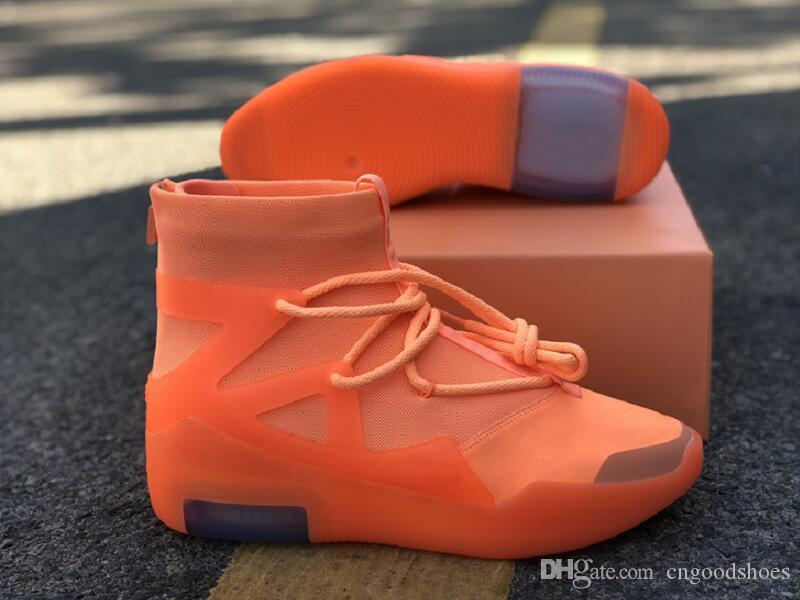 La mejor calidad para hombre del temor de Dios 1 Naranja pulso Designer Shoes atléticos asombrosos FOG1 Moda Chaussures deporte zapatillas vienen con la caja