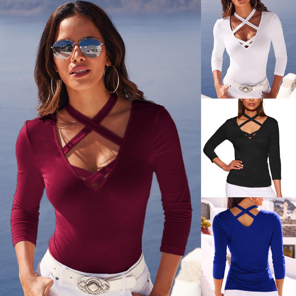 Womens Casual V-Neck Tops Long Sleeve Cross T Shirt Tee Tee Shirt Femme T Shirt Femme Ropa Mujer 2020 #S