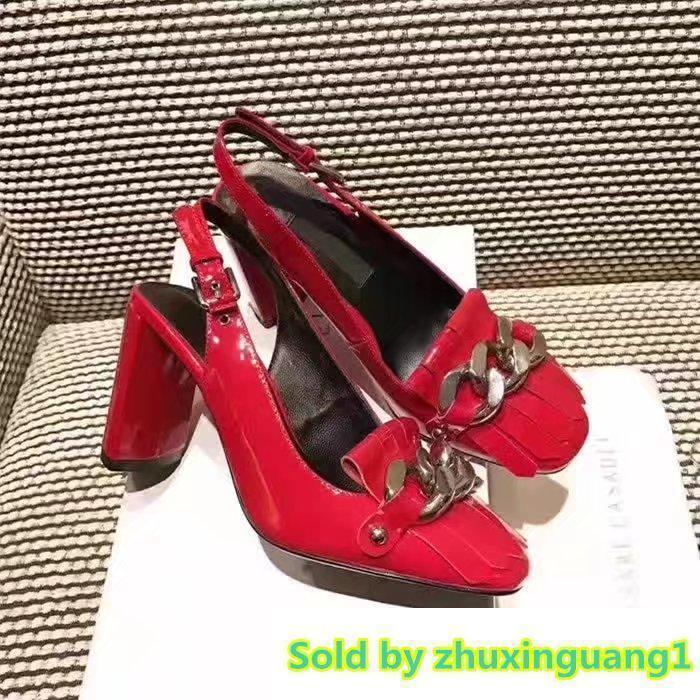 Lüks Mektup Şerit Püskül Yüksek topuklu ayakkabılar Hakiki Patent Deri Kadın Zincir Kalın Topuk Sandalet 35-40 Kutusu Ile
