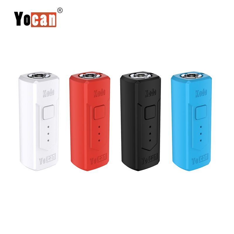 Yocan Kodo Bateria Pré-aqueça Adaptador Variável Variável Mini Vape Mod Box Starter Kit 510 Thread Bateria Ajuste O Óleo Grosso Vape Cartdages Autêntico