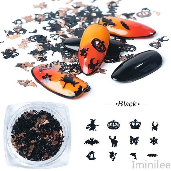 Mix Black Gold Metal Decorations Nail Art Flakes Pumpkin Witch Spider Bat 3D Slice Halloween DIY Supplies CH1034